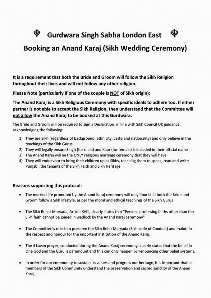 UK Gurdwara releases protocol for Anand Karaj