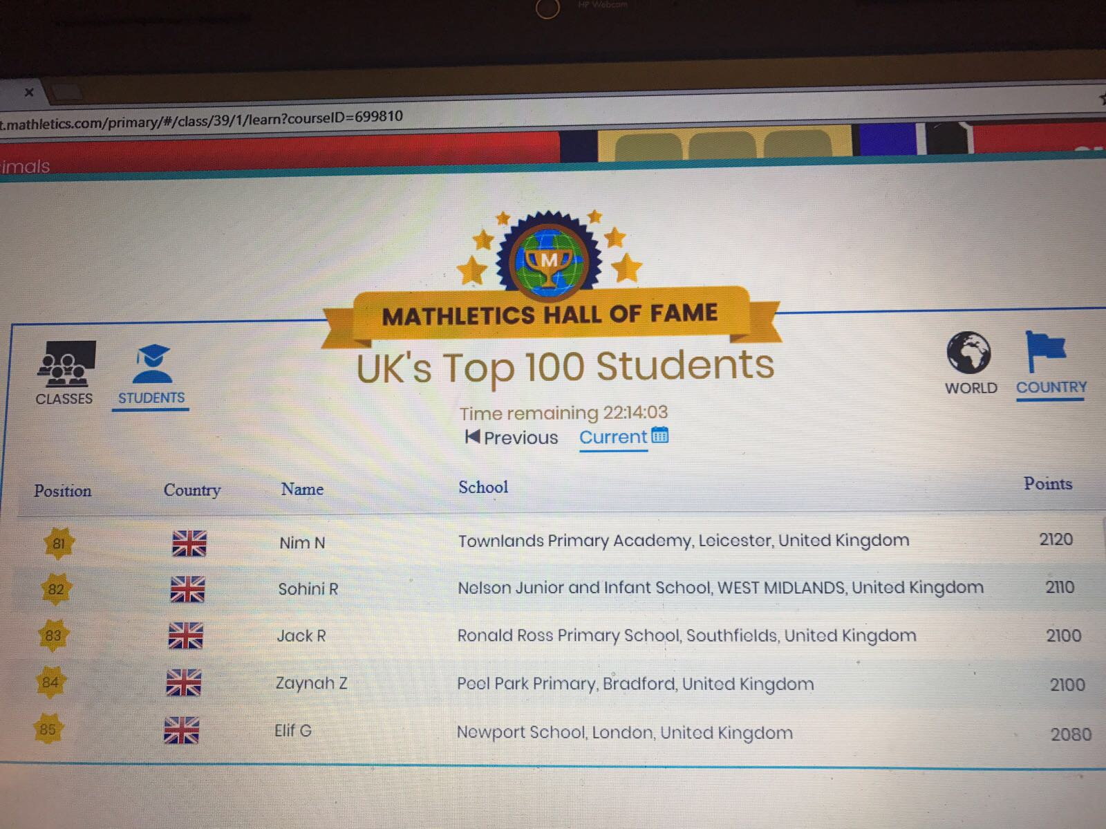 Year 4 student features in top 100 Mathletics Hall of Fame...